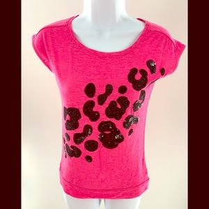Justice Girls Top Size 10 Pink with Black Glitter
